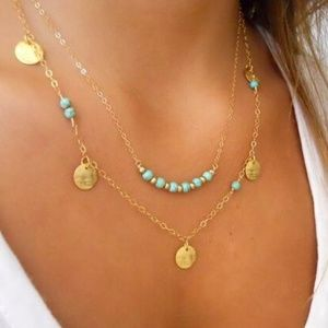 Jewelry - ✔CLEARANCE! Boho gold and teal multilayer necklace